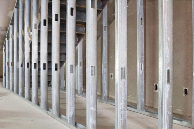 Steel stud framing completed project
